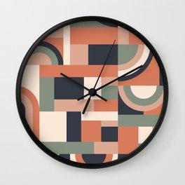 Earth Tones Blocks Wall Clock