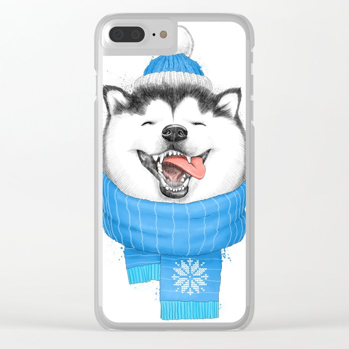 happy husky Clear iPhone Case