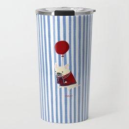 French Bulldog with Stripe Travel Mug