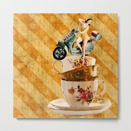 Tipsy Tea Cups Metal Print
