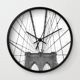 Brooklyn Bridge Black and White Wall Clock