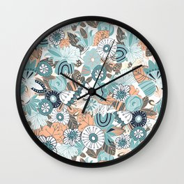 Whimsical Blue and Orange Floral Wall Clock