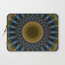 Mandala in golden and blue tones Laptop Sleeve