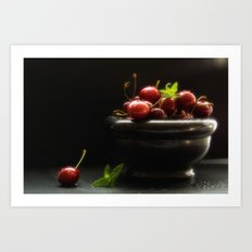 Noble Cuisine Still life with fresh cherries and black background Art Print
