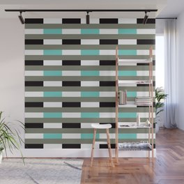Geometric Pattern 67 (turquoise black gray lines) Wall Mural