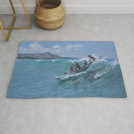 Canoe Surfing, Waikiki, Hawaii nautical seascape painting by D. Howard Hitchcock Rug