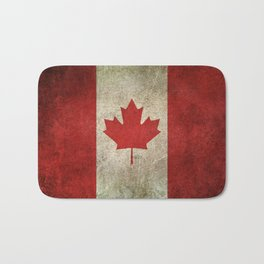 Old and Worn Distressed Vintage Flag of Canada Bath Mat