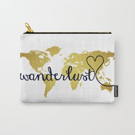 Wanderlust World Map with Faux Gold Foil Carry-All Pouch