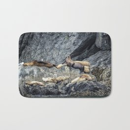 Group of Female Sea Lions and Young Bath Mat