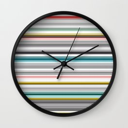 grey and colored stripes Wall Clock