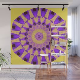 Bold Purple and Yellow Mandala Wall Mural