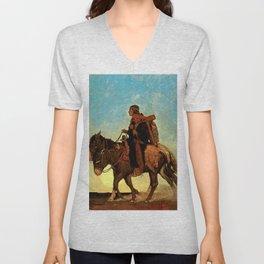 "N C Wyeth Western Painting ""Navajo Family"" Unisex V-Neck"