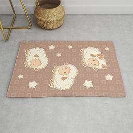 Cute Little Sheep on Brown Rug