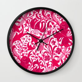 William Morris Iris and Lily, Fuchsia Pink and Burgundy Wall Clock