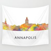 maryland Wall Tapestries featuring Annapolis, Maryland Skyline BG by Marlene Watson