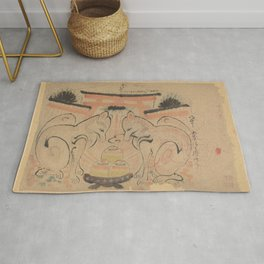 Two foxes in front of the torri of the Inari Jinja, anonymous, 1800 - 1900 Rug