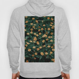 Top view of yellow flowers on green leaves background - peaceful nature photography Hoody