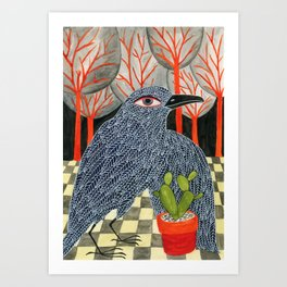 Bird with cactus Art Print