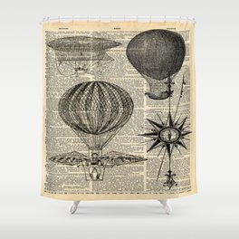 newspaper print victorian steampunk airship plane hot air balloon Shower Curtain