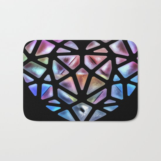 Stained Glass Heart Bath Mat
