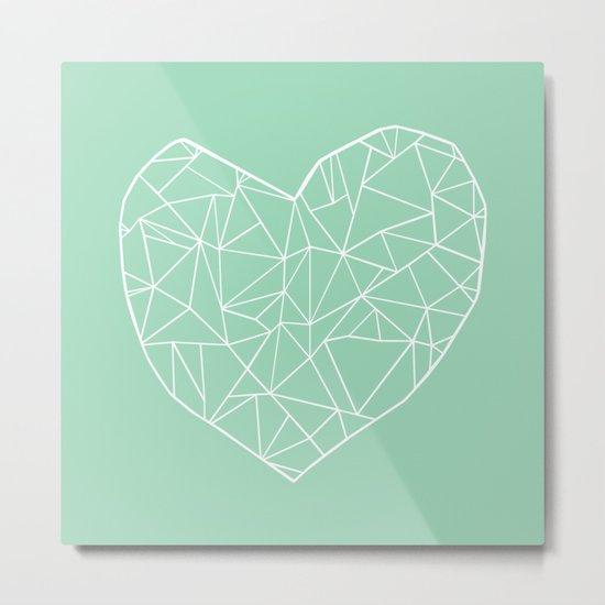 Abstract Heart Mint Metal Print