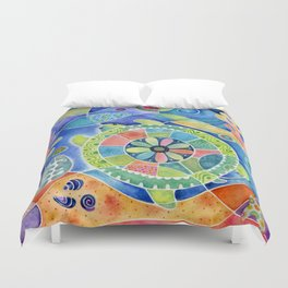 Sea Turtle Abstract Duvet Cover
