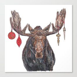 Moose with Baubles Canvas Print