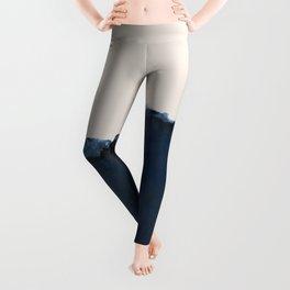 Abstract, blue, beige, indigo Leggings