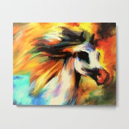 Watercolor Horse Rainbow Sunset (Color) Metal Print