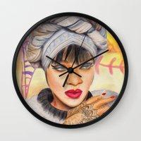 rihanna Wall Clocks featuring RIHANNA by Share_Shop