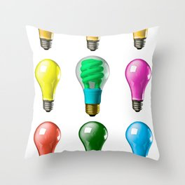Lightbulbs Of A Differnt Color Throw Pillow
