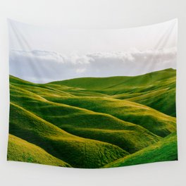 Rolling Green Hills In Heaven With Fluffy White clouds Wall Tapestry