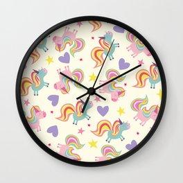 Rainbow Unicorn Pattern Wall Clock