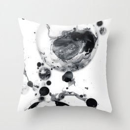 Ink in Milk Black and White liquid Nr.05 Throw Pillow