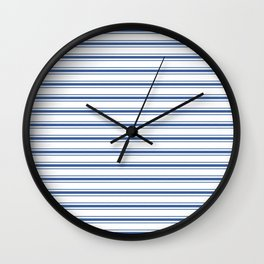 Mattress Ticking Wide Horizontal Stripe in Dark Blue and White Wall Clock