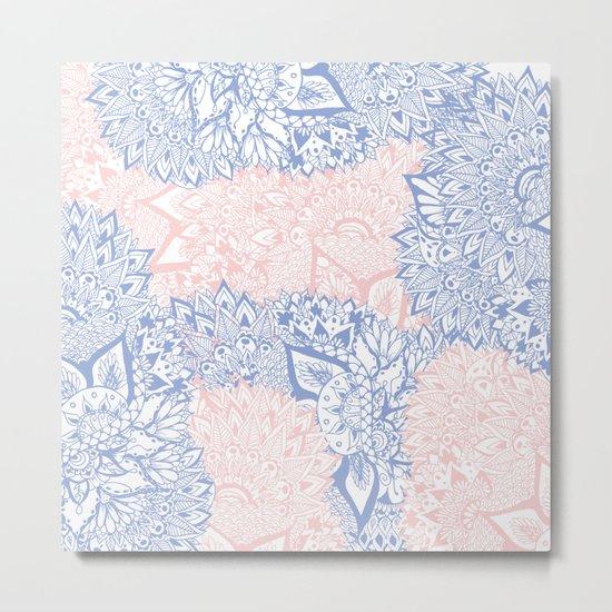 Modern pink rose quartz serenity blue mandala floral illustration Metal Print