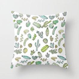 Cute Green Watercolor Paint Summer Cactus Pattern Throw Pillow