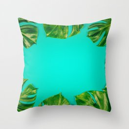 Tropical leaves Monstera on colorful background, close up Throw Pillow