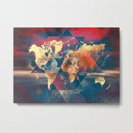 world map 34 sacred Metal Print