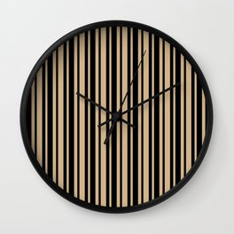Tan Brown and Black Vertical Var Size Stripes Wall Clock