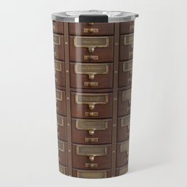 Vintage Library Card Catalog Drawers 2017 Calendar Travel Mug