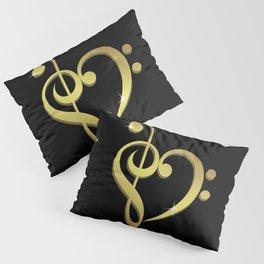 Treble clef, bass clef music heart love Pillow Sham