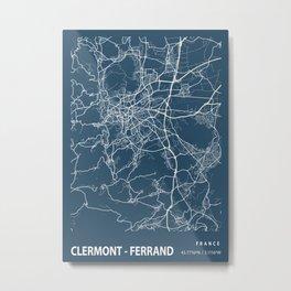 Clermont - Ferrand Blueprint Street Map, Clermont - Ferrand Colour Map Prints Metal Print