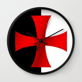 Dual color knights templar red cross Wall Clock