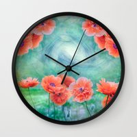 poppies Wall Clocks featuring Poppies by LudaNayvelt