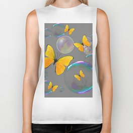 YELLOW BUTTERFLIES  & SOAP BUBBLES GREY COLOR DESIGN ART Biker Tank