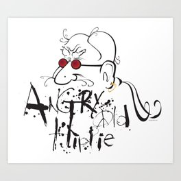 Angry Old Hippie (Original) Art Print