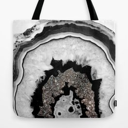 Gray Black White Agate with Silver Glitter #1 #gem #decor #art #society6 Tote Bag