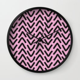 chevron pink rose Wall Clock