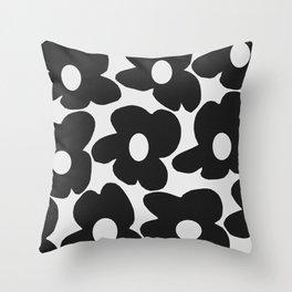 Black Retro Flowers White Background #decor #society6 #buyart Throw Pillow